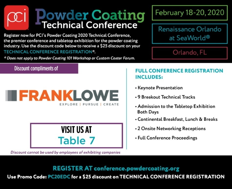 Powder Coating Technical Conference Exhibitor Discount Pass - Frank Lowe